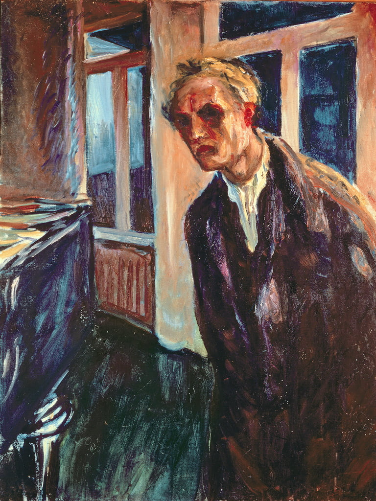 Wanderer by night: self portrait by Edvard Munch