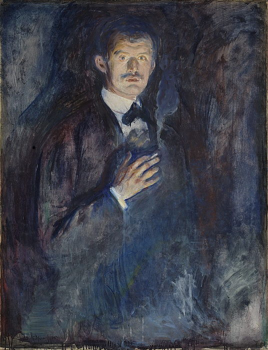 Self Portrait with Cigarette by Edvard Munch