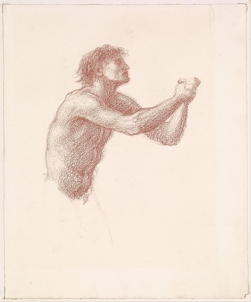 The Hill of Venus - Male Nude - Study of one of the Reapers for Reapers Appealing to Venus by Edward Burne Jones