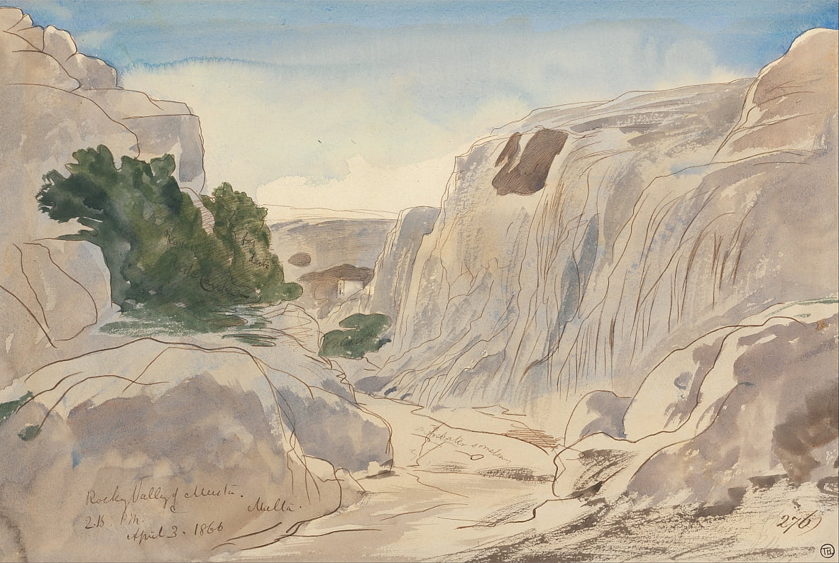 Rocky Valley of Mosta, Malta, 2-15 p.m. (April 3, 1866) by Edward Lear