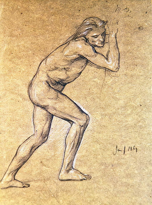Study of a male nude for The Prodigals Return, 1869 (chalk on paper) by Edward John Poynter