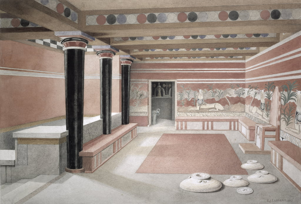 Reconstruction of the Throne Room of the Palace of Knossos, Crete, c.1500 BC, 1917  by Edwin J. Lambert