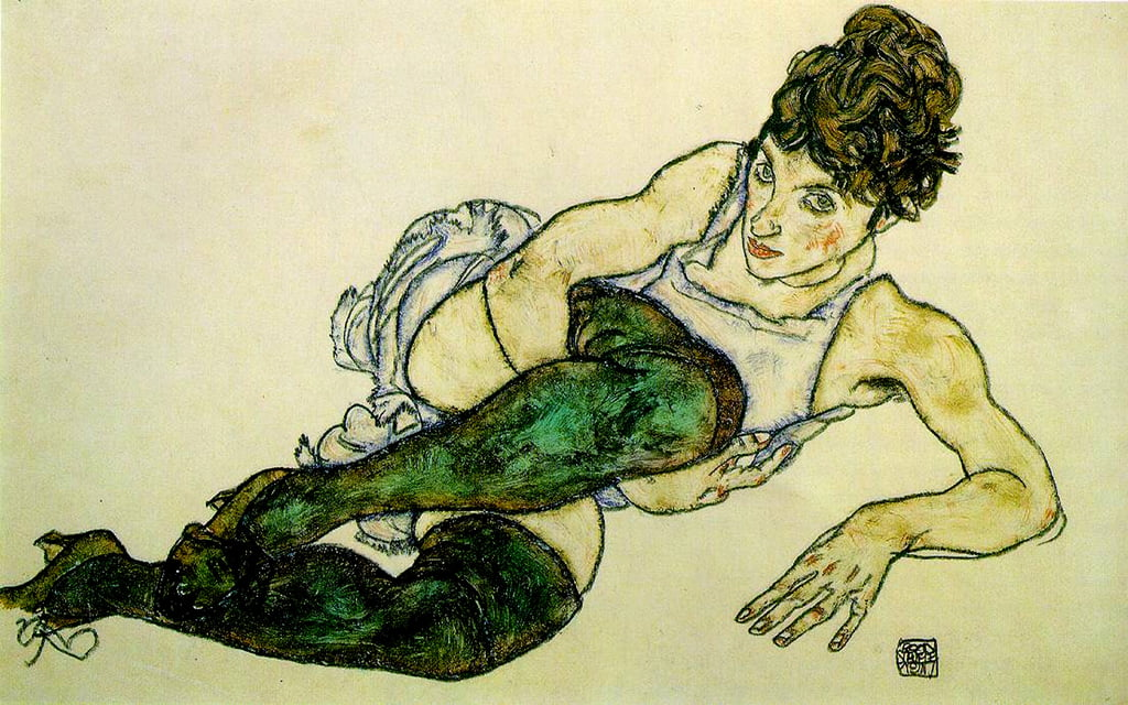 The Green Stockings, 1917 (gouache und black pencil on paper) by Egon Schiele