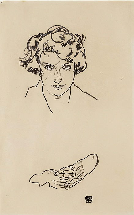 Portrait of a Girl, 1917 (black crayon on wove paper) by Egon Schiele