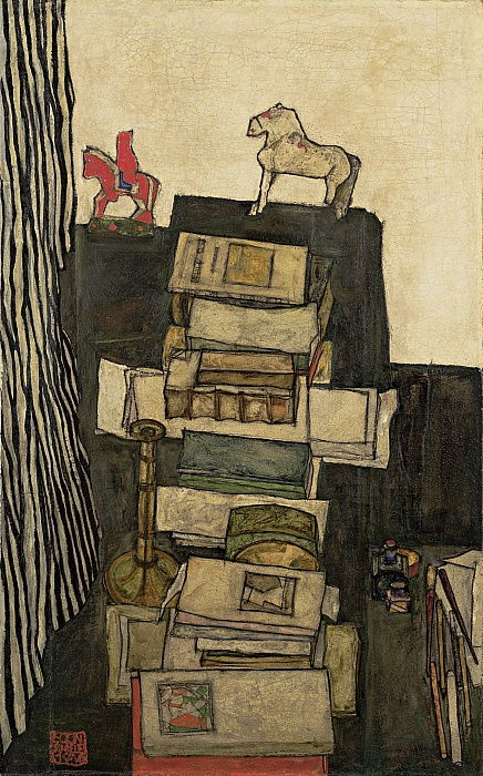 Still Life with Books Schieles Desk, 1914 by Egon Schiele