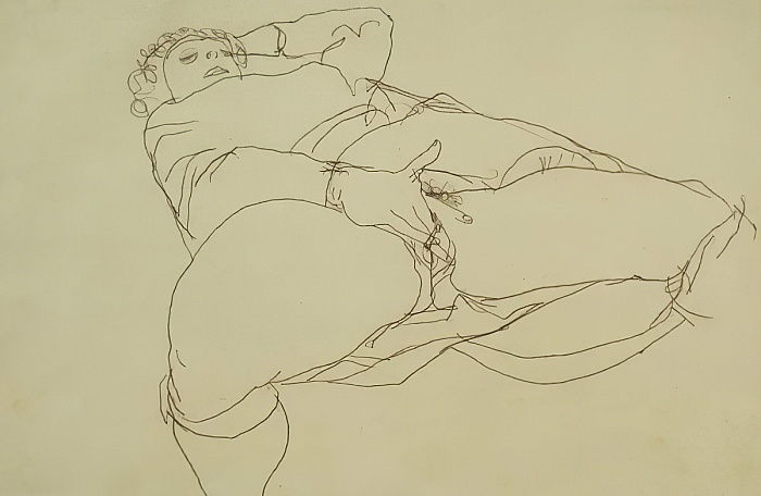 Woman Masturbating (ink on paper) by Egon Schiele