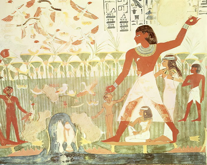 Hunting and Fishing, from the Tomb of Nakht, New Kingdom (wall painting) by Egyptian 18th Dynasty