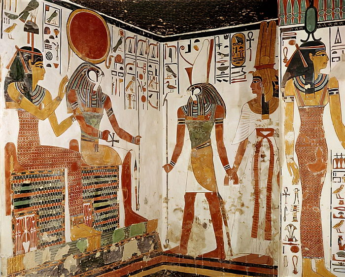 Nefertari is brought before the god Re-Horakhty by Horus, from the Tomb of Nefertari, New Kingdom (wall painting) by Egyptian 19th Dynasty