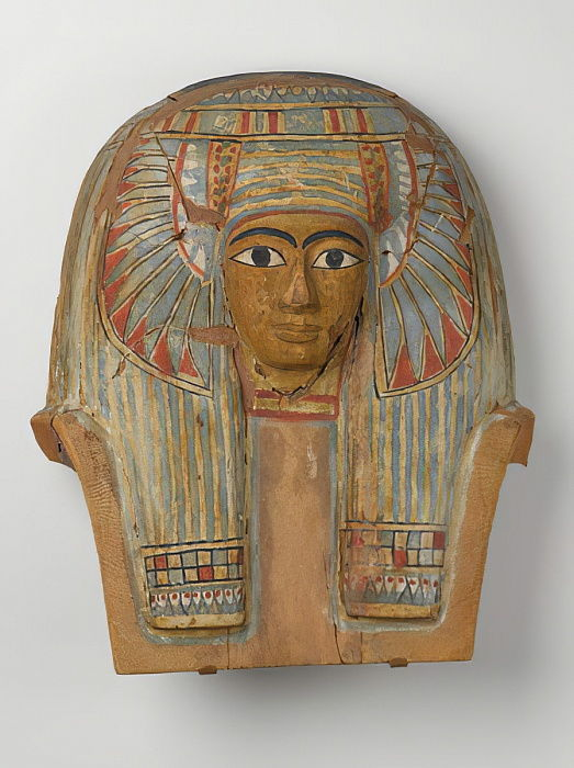 Face from a wooden Coffin Lid, c.945-715 BC (wood with gesso and paint) by Egyptian 22nd Dynasty