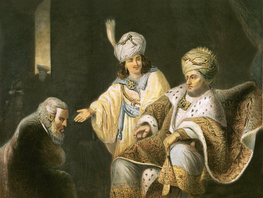 Joseph bringing his father Jacob to meet Pharaoh by English School