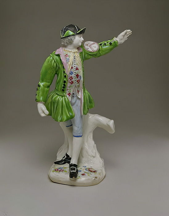 Soft-paste figure of a Thames waterman painted with enamels, c.1753-55 (ceramic) by English School