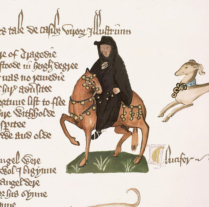 The Monk, detail from The Canterbury Tales, by Geoffrey Chaucer (c.1342-1400) Ellesmere Manuscript, facsimile edition, 1911 (for original see 128925) by English School