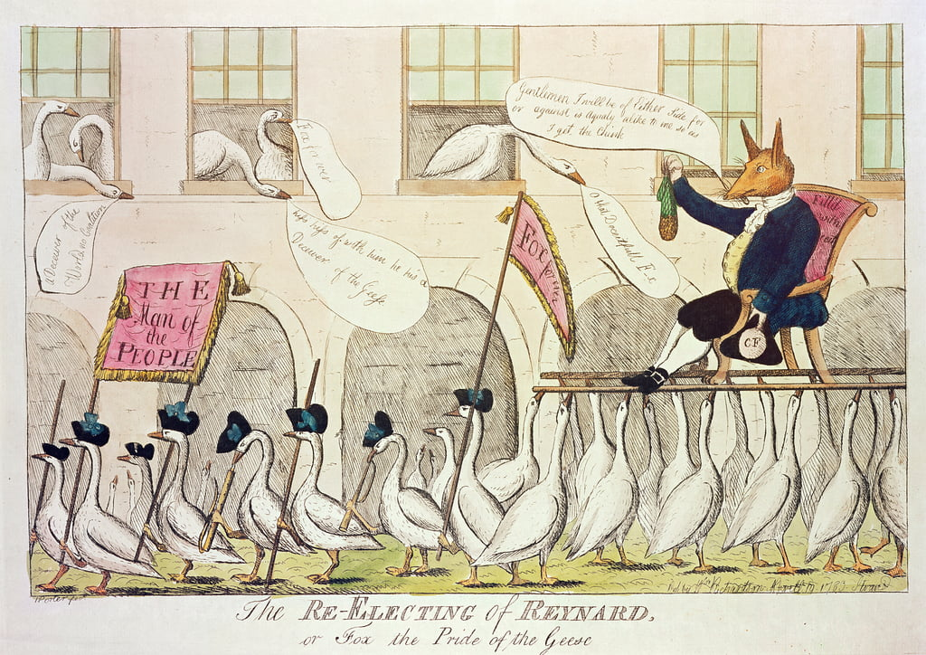 The Re-Electing of Reynard, or Fox the Pride of the Geese, 1783 (hand-coloured engraving) by English School