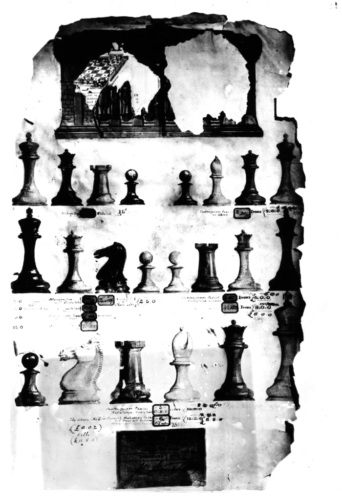 The Staunton Chessmen Patent Drawing (pen and wc on paper)  by English School
