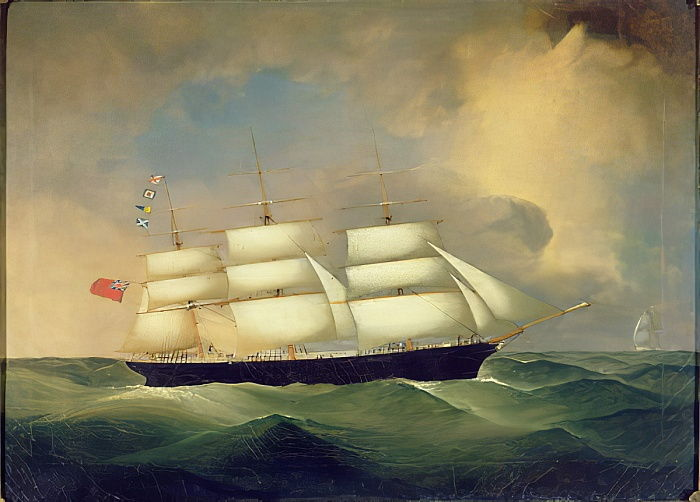 Three Masted English Clipper at Sea by English School