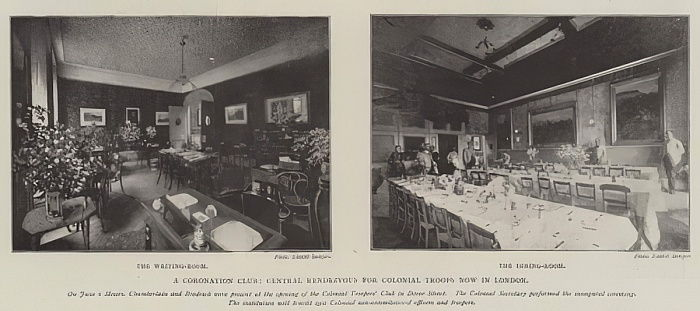A Coronation Club, Central Rendezvous for Colonial Troops now in London  by English Photographer