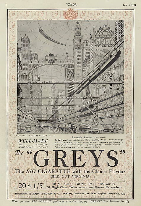 Advertisement for Greys cigarettes  by English School