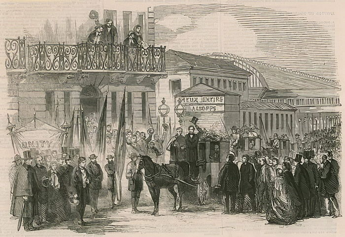 Arrival of Neapolitan exiles at Paddington  by English School