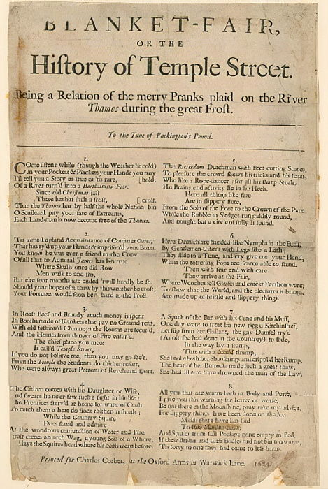 Blanket Fair. Poem about Frost Fair of 1684  by English School