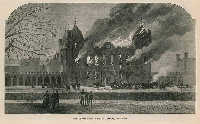 Fire at the Royal Military Academy in Woolwich  by English School