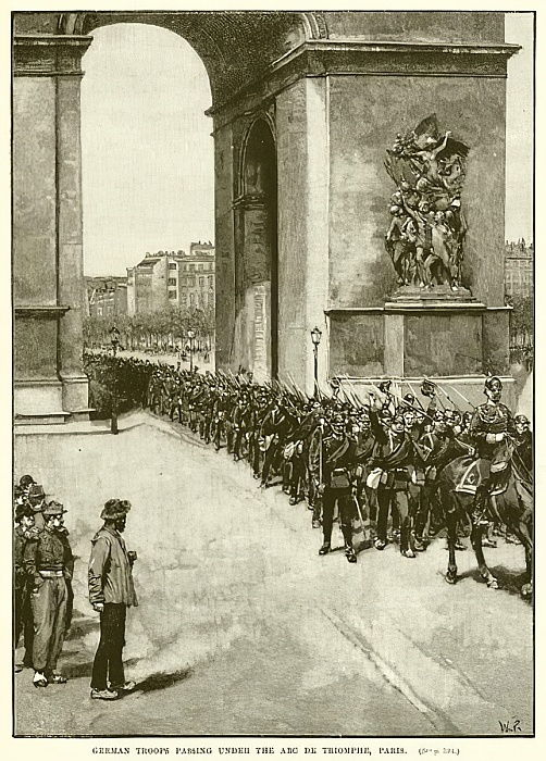 German Troops passing under the Arc de Triomphe, Paris  by English School