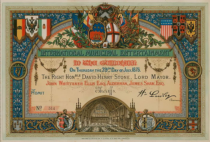 Invitation to International Municipal Entertainment at the Guildhall, London, on 29 July 1875  by English School