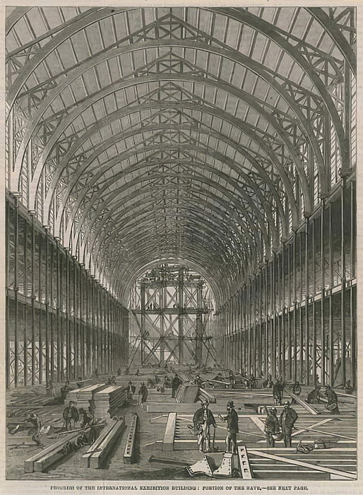 Progress on the International Exhibition Building; Portion of the Nave  by English School