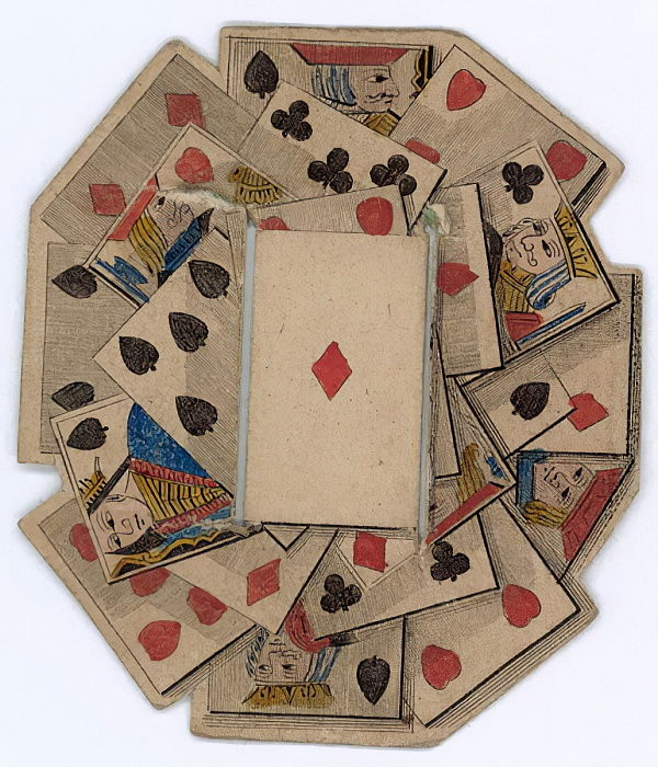 Roundel of playing cards  by English School