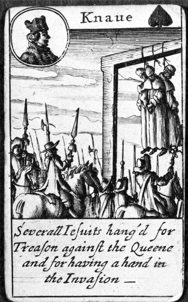 Several Jesuits hanged for Treason, Knave of Spades from a pack of playing cards (engraving) by English School