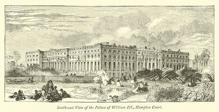 South-east View of the Palace of William III, Hampton Court  by English School