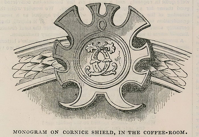 The Conservative Clubhouse: Monogram of the Cluib on Cornice Shield in the coffee room  by English School
