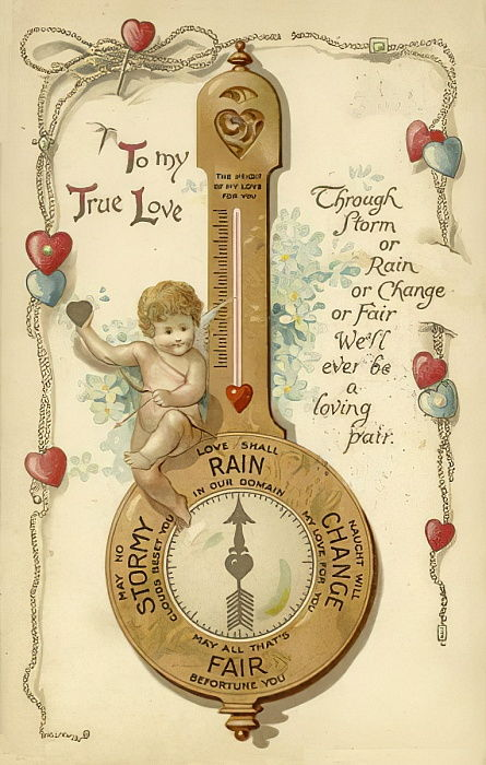 Valentines card, involving barometer  by English School