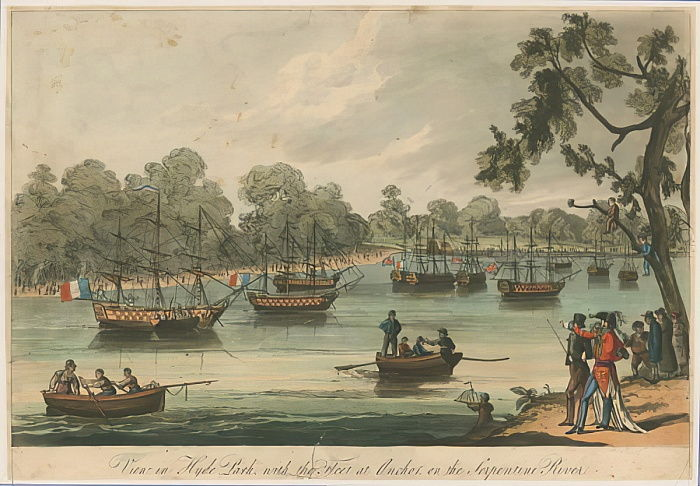 View in Hyde Park with the Fleet at Anchor on the Serpentine River. Naumachia. Peace of 1814  by English School