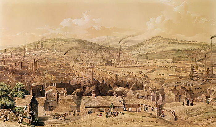 View of Industrial Sheffield  from the South East by William Ibbit, 1854 by English School