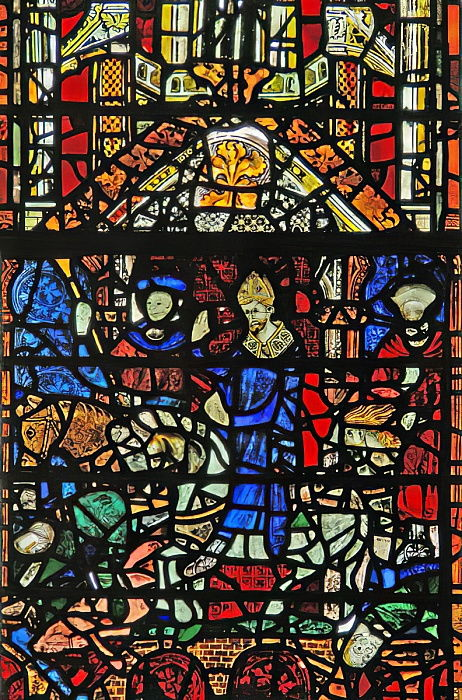 Window w31 depicting St William crossing the Ouse bridge  by English School
