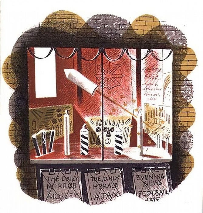 The Newsagent, printed by the Curwen Press, from High Street, by J.M. Richards, published by Country Life, 1938 (set of 24)  by Eric Ravilious