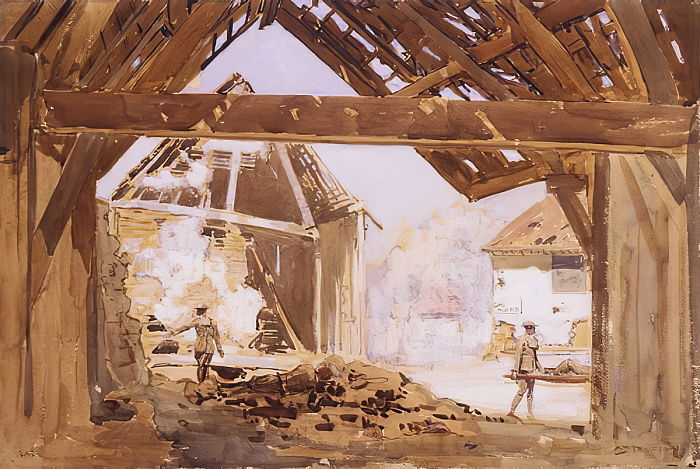 Gas alert, 1919 (wc und gouache with pencil on paper) by Arthur Streeton