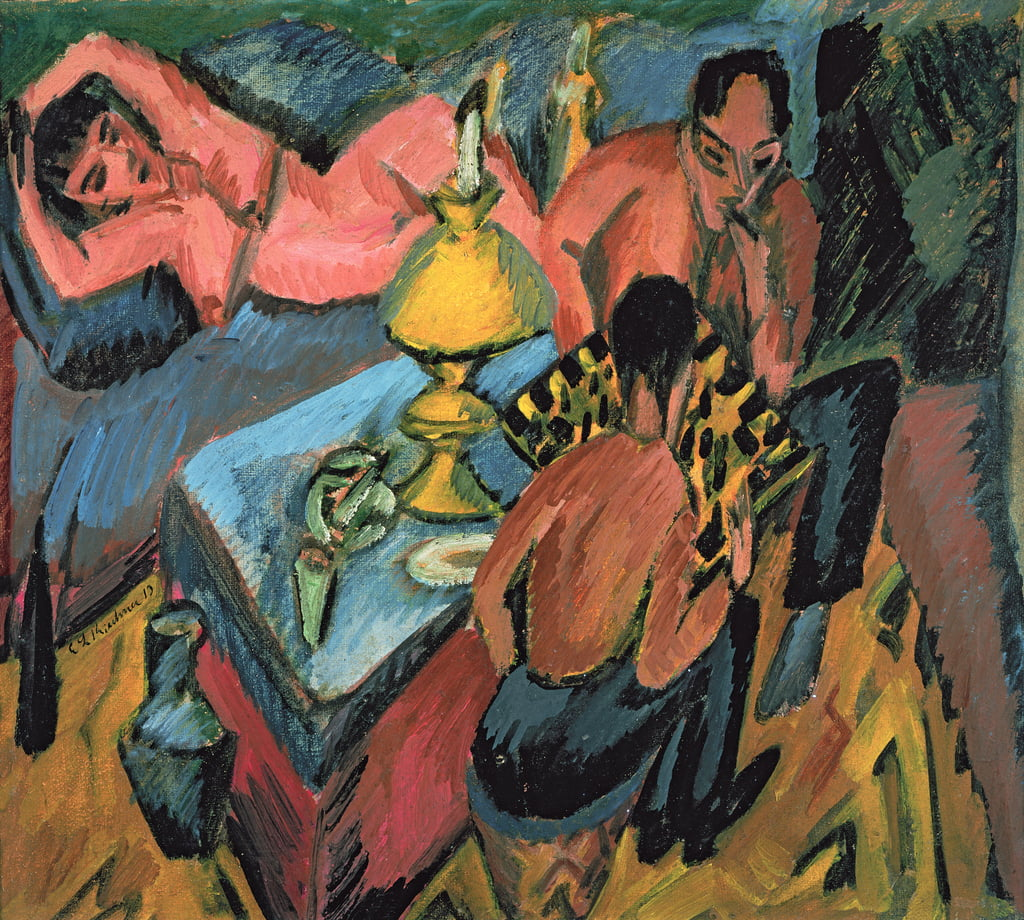 Otto Muller (1874-1930) Playing Chess, 1913  by Ernst Ludwig Kirchner