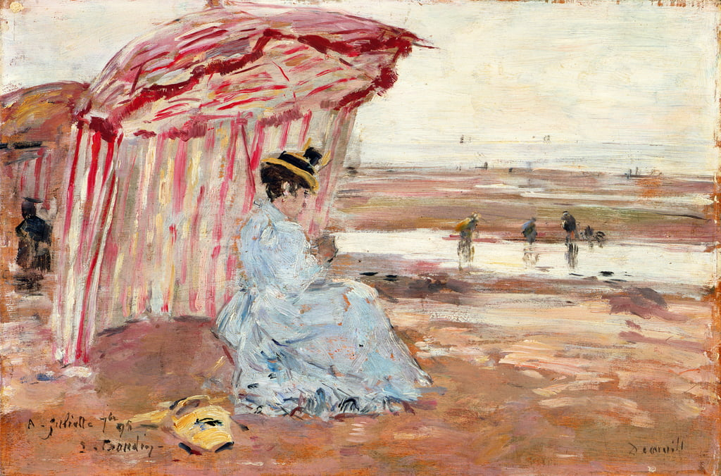 Woman Under Beach Umbrella, 1895  by Eugene Louis Boudin