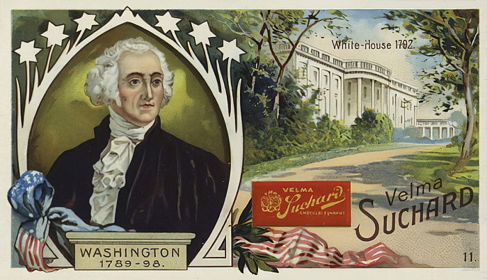 George Washington, first President of the United States, and the White House, Washington DC  by European School