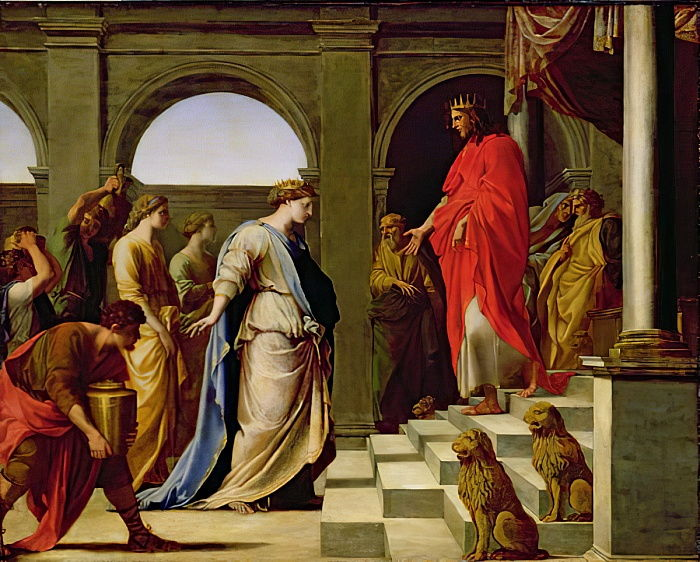 Solomon and the Queen of Sheba, 1650  by Eustache Le Sueur