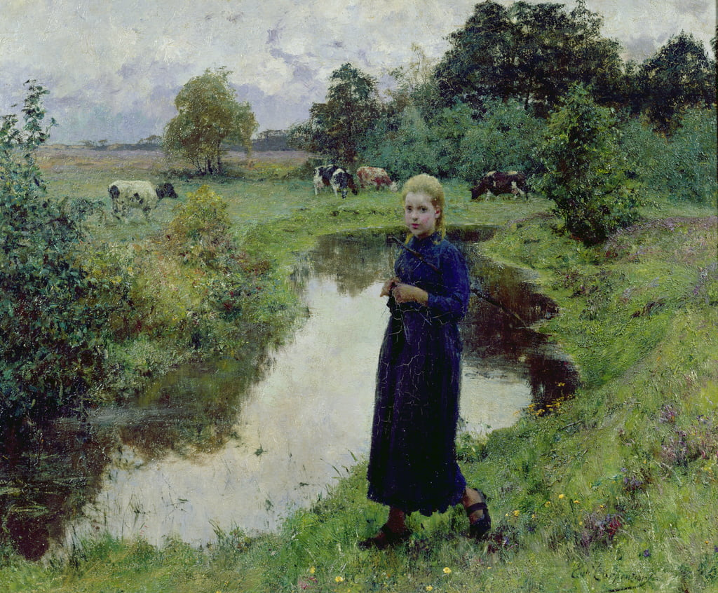 Young Girl in the Fields, by Evariste Carpentier
