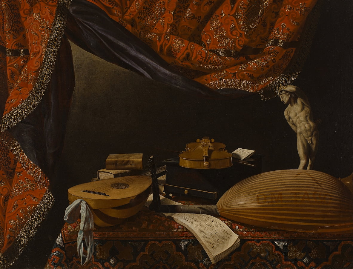 Still life with Musical Instruments, Books and Sculpture by Evaristo Baschenis