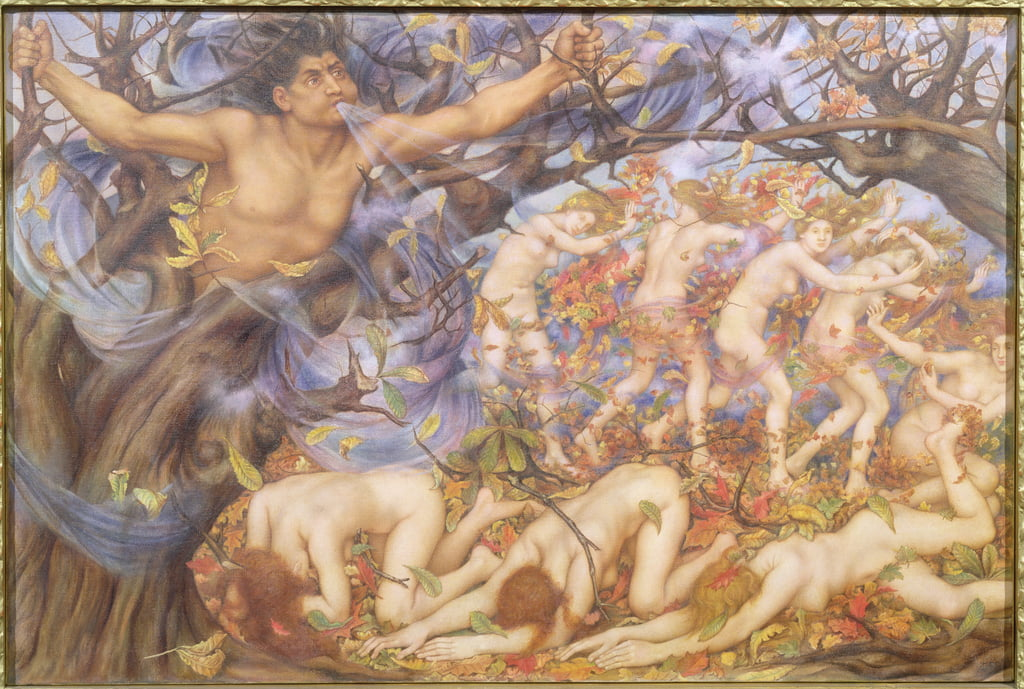 Boreas and Fallen Leaves  by Evelyn De Morgan