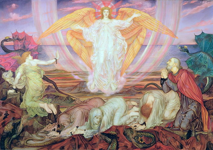Death of the Dragon, 1914  by Evelyn De Morgan