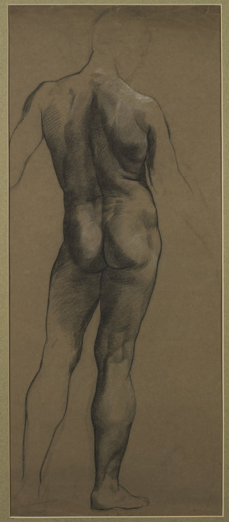 Male Nude Study (black und white chalk on brown paper) by Evelyn De Morgan