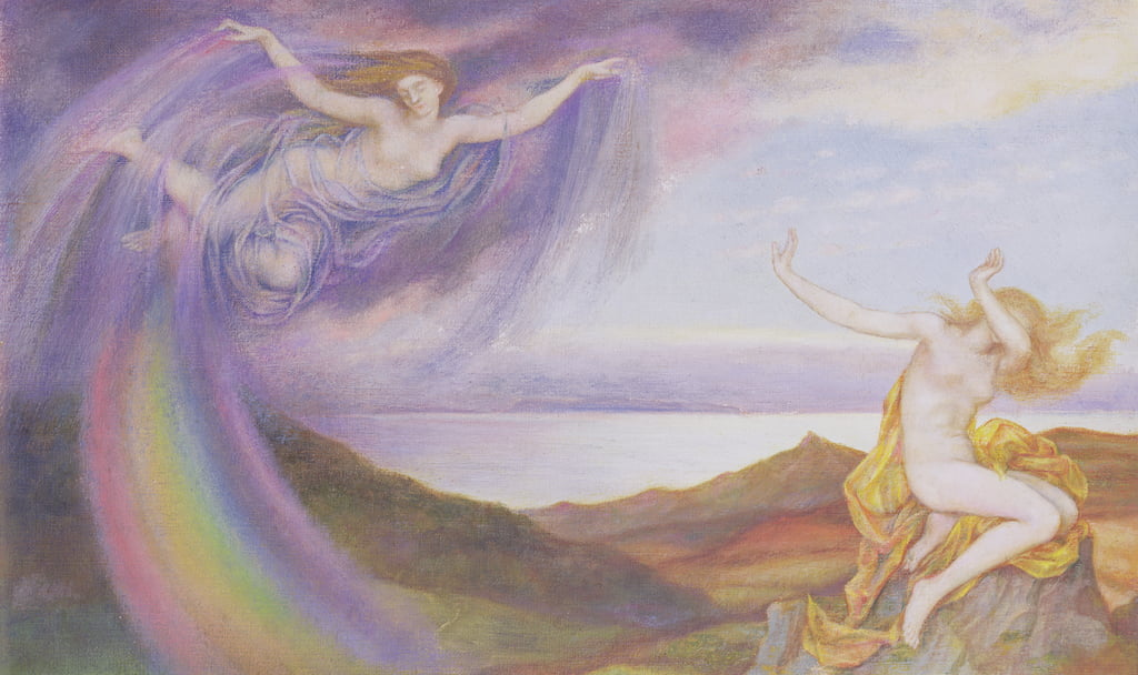 Sunbeam and Summer Shower  by Evelyn De Morgan
