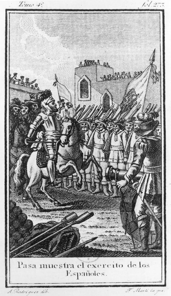 Hernando Cortes (1485-1547) Reviewing his Troops, engraved by Antonio Rodriquez   by F. Marti