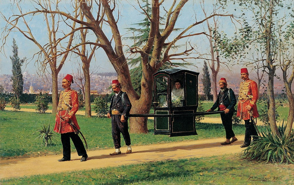 The Daughter of the English Ambassador Riding in a Palanquin by Fausto Zonaro