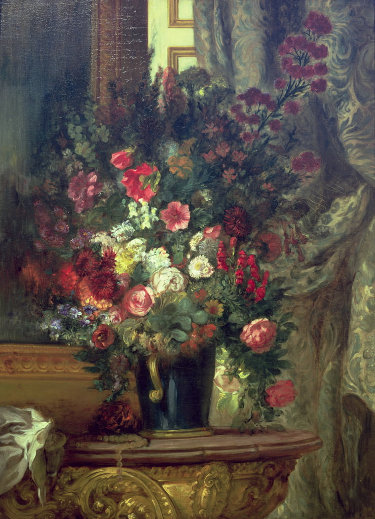 Vase of Flowers on a Console, 1848-49  by Ferdinand Victor Eugene Delacroix